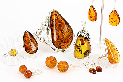 Amber and sterling silver jewellery