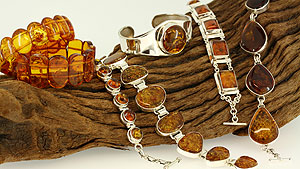 Amber and sterling silver bracelets