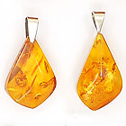 Amber and sterling silver pendants - lot A