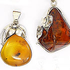Amber and sterling silver pendants - lot D