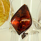 Amber and sterling silver rings