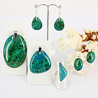 Chrysocolla and sterling silver jewellery