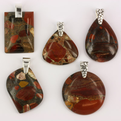 Conglomerate jasper pendants mixed