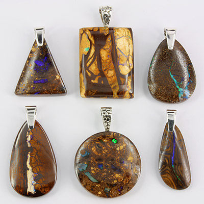 Boulder matrix opal pendants mixed