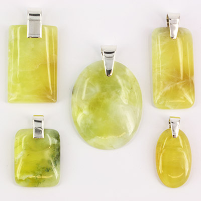 Prehnite pendants mixed