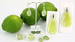 Prehnite and sterling silver jewellery