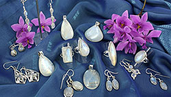 Rainbow moonstone and sterling silver jewellery