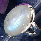 Rainbow moonstone and sterling silver ring