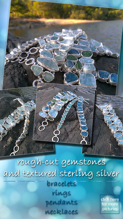 Sterling silver jewellery with rough-cut gemstones: bracelets, rings, pendants, necklaces